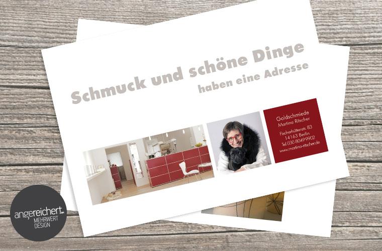 angereichert gestaltet Einladungskarten, Flyer und Postkarten