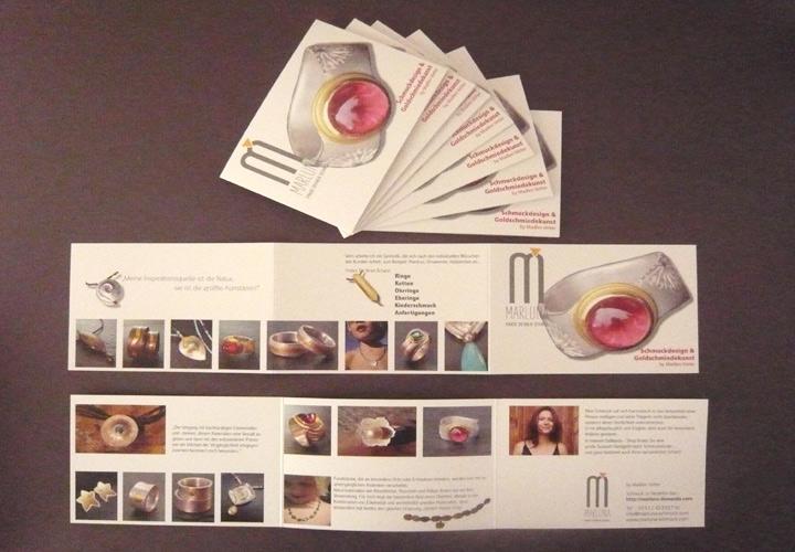 Logodesign, Flyer, Faltblätter für Marluna Schmuck